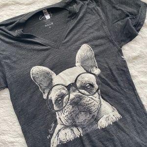 AMERICAN APPAREL French Bulldog Gray V-Neck Tee M